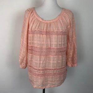 Loft Size Large Pink Peasant Blouse Crochet Light
